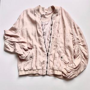Baby Pink Free People Bomber with Ruched Sleeves